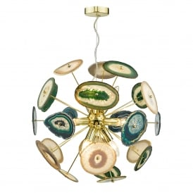 Achates 9 Light Ceiling Pendant in Polished French Gold Finish with Agate Detailing
