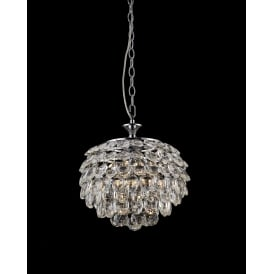 Adaliz 3 Light Ceiling Pendant In Polished Chrome And Crystal Finish