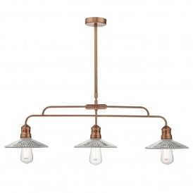 Adeline 3 Light Ceiling Bar Pendant in Copper Finish with Glass Shades