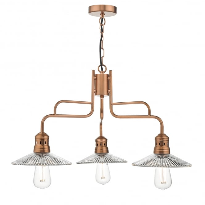Dar Lighting Adeline 3 Light Ceiling Pendant in Copper Finish with Glass Shades
