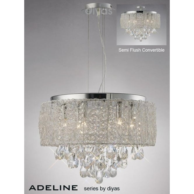 Diyas Adeline Large 6 Light Polished Chrome Ceiling Pendant with Asfour Crystal