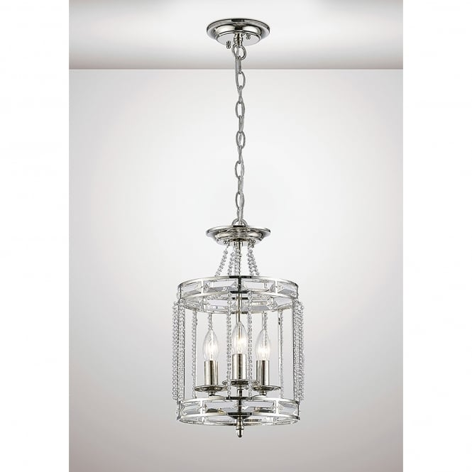 Diyas Adina 3 Light Ceiling Pendant In Polished Nickel And Crystal Finish