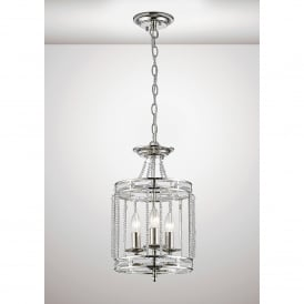 Adina 3 Light Ceiling Pendant In Polished Nickel And Crystal Finish