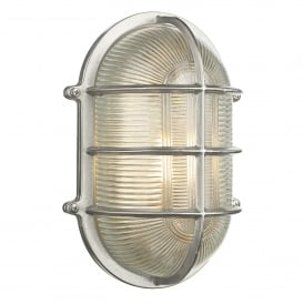 Admiral Single Light Large Outdoor Wall Fitting Made From Solid Brass in Nickel Finish with Glass Diffuser