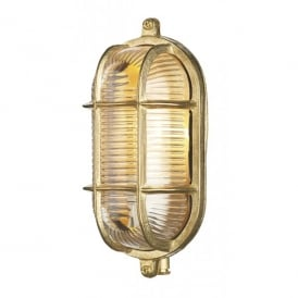 Admiral Single Light Outdoor Wall Fitting In Brass Finish With Glass Diffuser