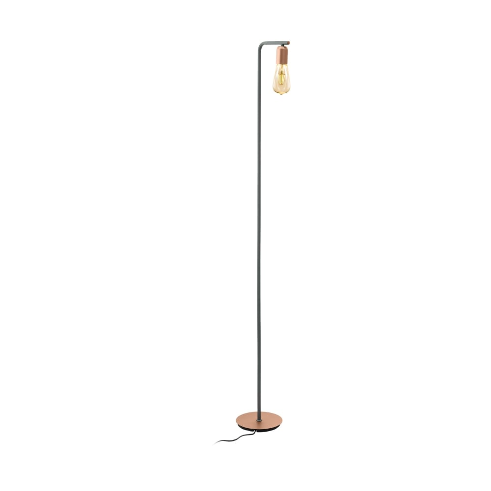 Eglo lighting adri 1 single light floor lamp in grey and for Rose gold floor lamp uk