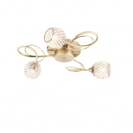Aherne 3 Light Ceiling Fitting in Antique Brass Finish