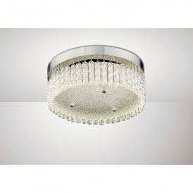 Aiden LED Flush Circular Ceiling Fitting In Polished Chrome And Crystal Finish