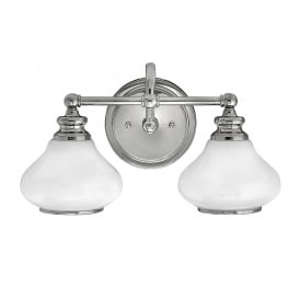 Ainsley 2 LED Bathroom Wall Light in Polished Chrome Finish Complete with Glass Shades