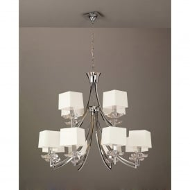 Akira 12 Light Ceiling Pendant in Polished Chrome Finish with Cream Shades