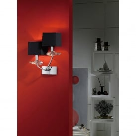 Akira Double Light Switched Wall Fitting in Polished Chrome Finish with Black Shades