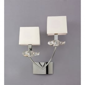Akira Double Light Switched Wall Fitting in Polished Chrome Finish with Cream Shades