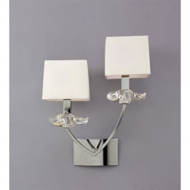 Akira Double Light Wall Fitting in Polished Chrome Finish with Cream Shades