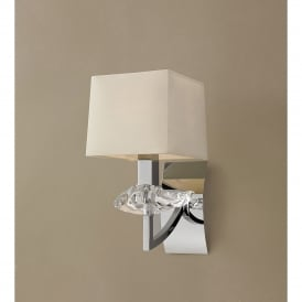 Akira Single Light Switched Wall Fitting in Polished Chrome Finish with Cream Shade