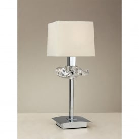 Akira Single Light Table Lamp in Polished Chrome Finish with Cream Shade