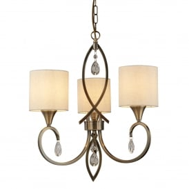 Alberto 3 Light Ceiling Pendant In Antique Brass Finish With Oatmeal Linen Shades