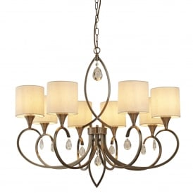 Alberto 8 Light Ceiling Pendant In Antique Brass Finish With Oatmeal Linen Shades