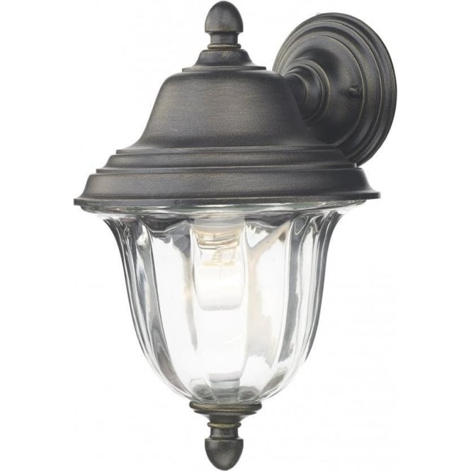 Dar Lighting Aldgate Black Gold Outdoor Wall Light With Clear Ribbed Glass
