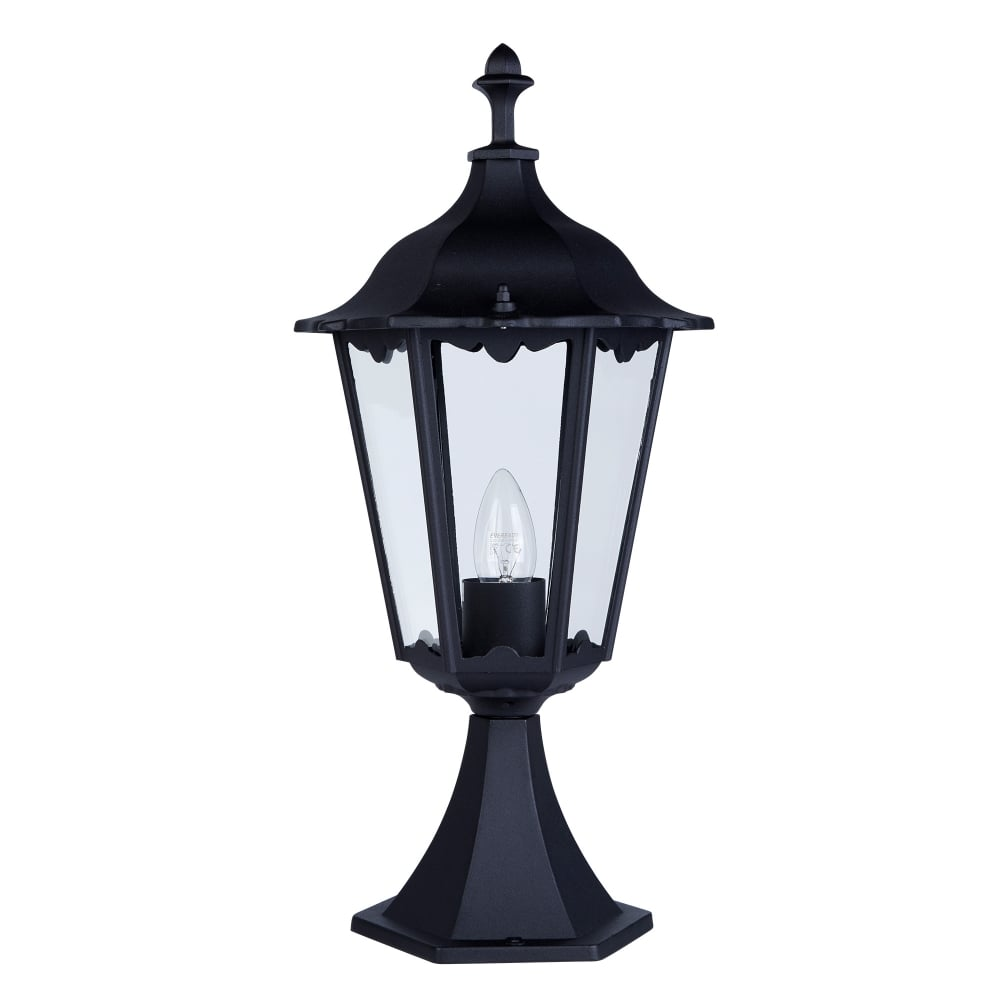 Traditional Nautical Black Ip44 Outdoor Garden Bollard: Searchlight Lighting Alex Single Light Bollard Lamp In