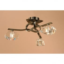 Alfa 3 Light Semi Flush Ceiling Fitting in Antique Brass Finish