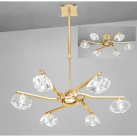 Alfa 6 Light Ceiling Pendant in French Gold Finish