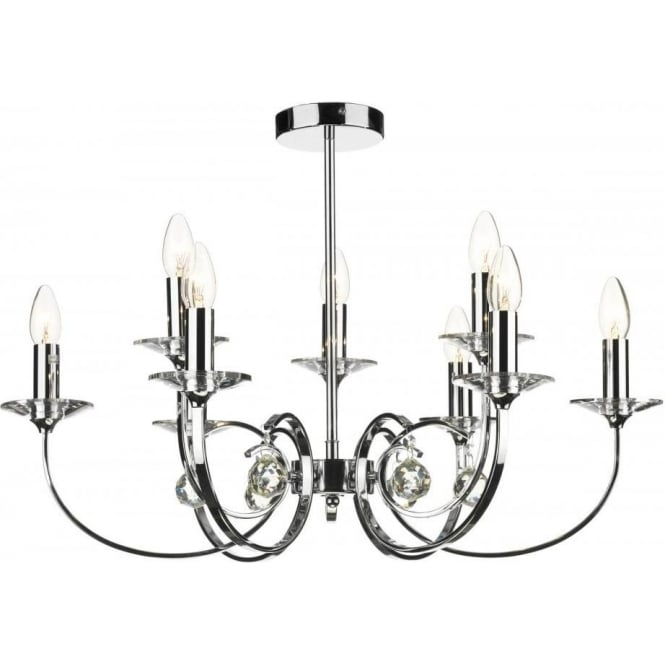 Dar Lighting Allegra 9 Light Multi-Arm Ceiling Fitting in a Polished Chrome Finish