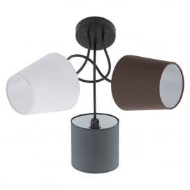 Almeida 3 Light Ceiling Fitting In Black Finish With Coloured Fabric Shades