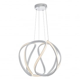 Alonsa Single Integrated LED Large Ceiling Pendant in White Finish