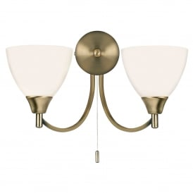 Alton 2 Light Wall Fitting In Antique Brass Finish