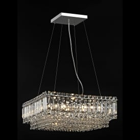 Alvery 8 Light Large Crystal Square Celing Pendant in Polished Chrome with Crystal Decoration