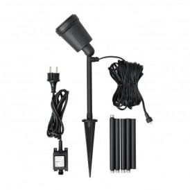 Amalfi 4w LED Tall High Powered Outdoor Garden Spike Spot Light Set In Black Finish With Colour Changing Screens