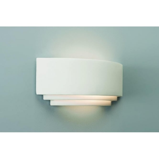 Astro Lighting Amalfi Plus 370 Low Energy Single Light Ceramic Wall Fitting In White Finish