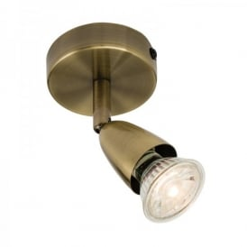 Amalfi Single Light Wall Or Ceiling Spotlight Fitting In Antique Brass Finish