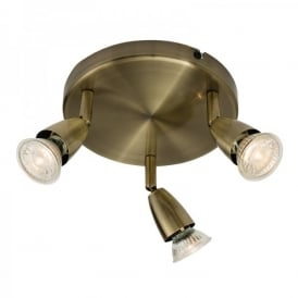 Amalfi Triple Light Ceiling Spotlight Fitting In Antique Brass Finish