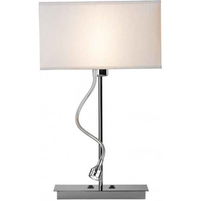 Dar Lighting Amalfi Twin Light Switched Table Lamp in Polished Chrome with Flexible LED Reading Light