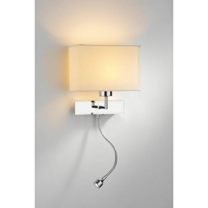 Dar Lighting Amalfi Twin Light Switched Wall Fitting in Polished Chrome with Flexible LED Reading Light