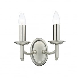 Ambassador 2 Light Wall Fitting in Satin Chrome Finish