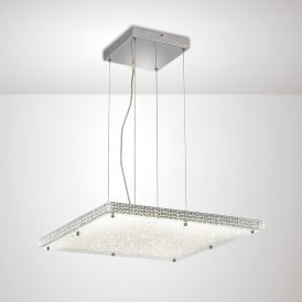 Amelia LED Ceiling Pendant In Stainless Steel And Crystal Finish