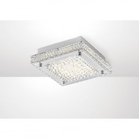Amelia LED Flush Ceiling Fitting In Stainless Steel And Crystal Finish