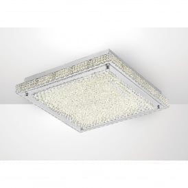 Amelia LED Large Flush Ceiling Fitting In Stainless Steel And Crystal Finish