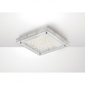 Amelia LED Medium Flush Ceiling Fitting In Stainless Steel And Crystal Finish