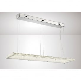 Amelia LED Rectangular Ceiling Pendant In Stainless Steel And Crystal Finish