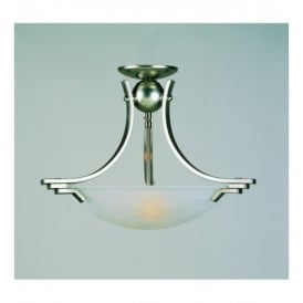 Amora Satin Nickel 2 Light Semi-flush Ceiling Fitting