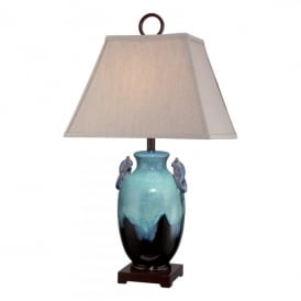 Amphora Single Light Table Lamp in Turquoise and Brown Ceramic Finish with Sand Shade