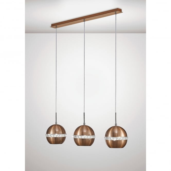 Diyas Andrea 3 Light Ceiling Bar Pendant In Copper And