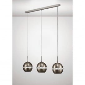 Andrea 3 Light Ceiling Bar Pendant In Satin Nickel And Crystal Finish