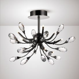Anita 9 Light Semi Flush Ceiling Fitting In Black Chrome And Crystal Finish
