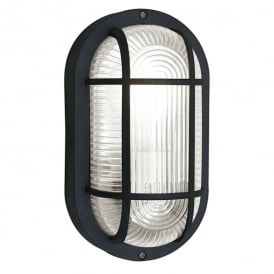 Anola Single Light Outdoor Oval Wall Fitting In Black Finish