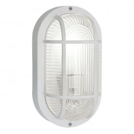 Anola Single Light Outdoor Oval Wall Fitting In White Finish