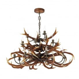 Antler 17 Light Large Tiered Ceiling Chandelier in Rustic Finish